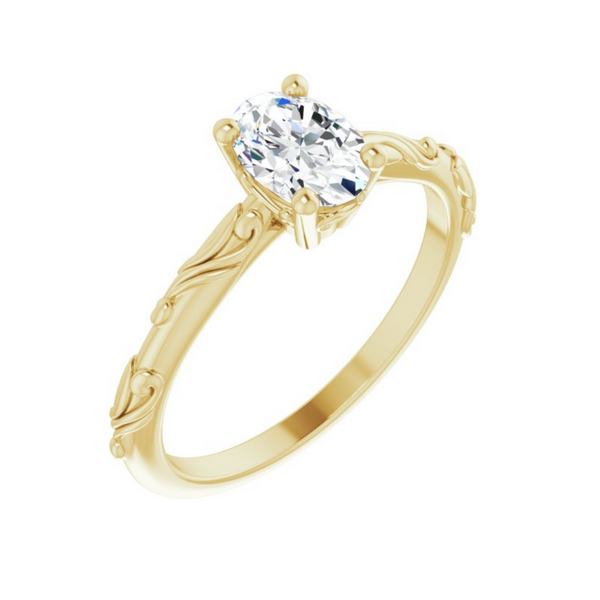 Oval Solitaire Scroll Engagement Ring Mounting Vandenbergs Fine Jewellery Winnipeg, MB