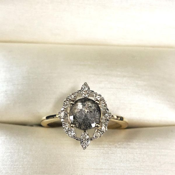 salt and pepper engagement ring gold