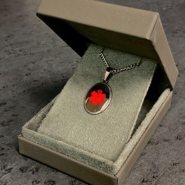 Stainless Steel Oval Medical ID Necklace Image 2 Vandenbergs Fine Jewellery Winnipeg, MB