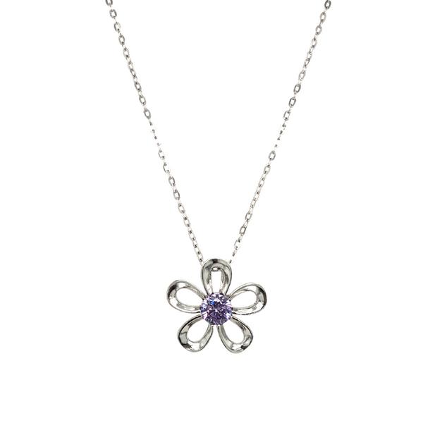 Silver Flower Necklace With Purple CZ Stone Vandenbergs Fine Jewellery Winnipeg, MB