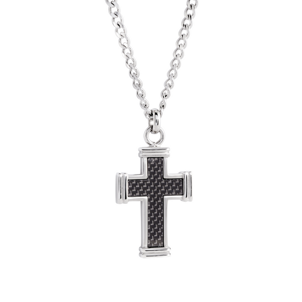 Steel Black Carbon Fibre Cross Necklace Vandenbergs Fine Jewellery Winnipeg, MB