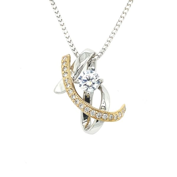 14K Two Tone Diamond & CZ Pendant Vandenbergs Fine Jewellery Winnipeg, MB