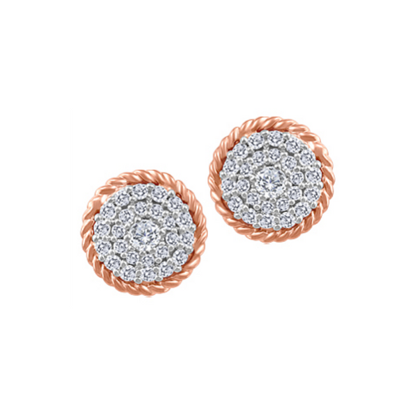 10K Rose & White Diamond Circle Studs Vandenbergs Fine Jewellery Winnipeg, MB