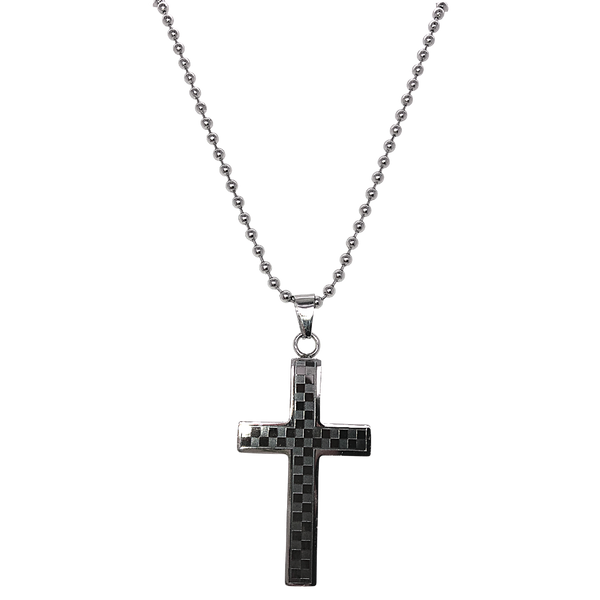 Stainless Steel Checkered Cross Necklace Vandenbergs Fine Jewellery Winnipeg, MB