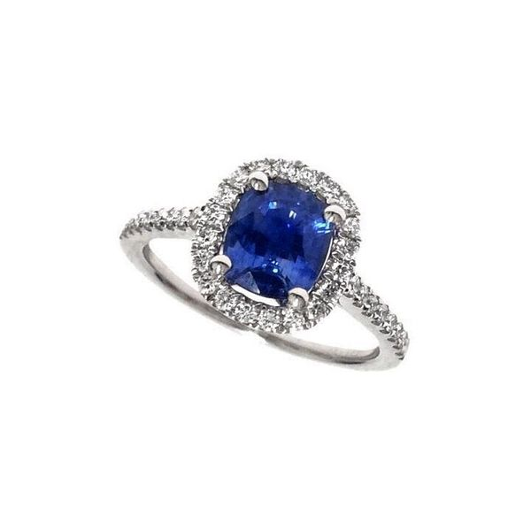 18 Karat White Gold Blue Sapphire Engagement Ring With Diamond Halo