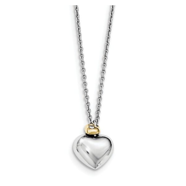 White Ice Diamond Two-Tone Double Heart Necklace Vandenbergs Fine Jewellery Winnipeg, MB