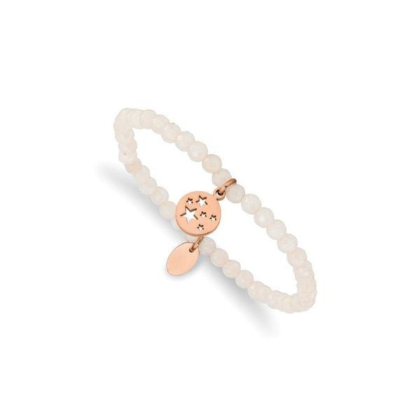 Rose Stars White Jade Beaded Stretch Bracelet Vandenbergs Fine Jewellery Winnipeg, MB