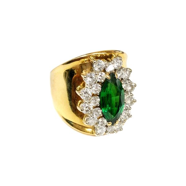 Estate Ring 18K Yellow Gold Green Garnet