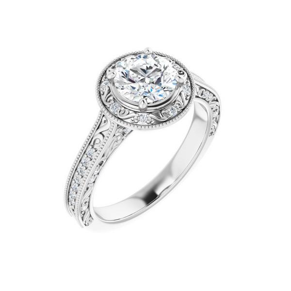 14K White 6.5 mm Round Engagement Ring Mounting Vandenbergs Fine Jewellery Winnipeg, MB