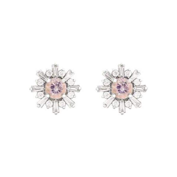 Morganite Diamond Studs