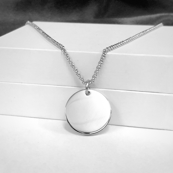 Stainless Steel Engravable Disc Necklace Image 2 Vandenbergs Fine Jewellery Winnipeg, MB