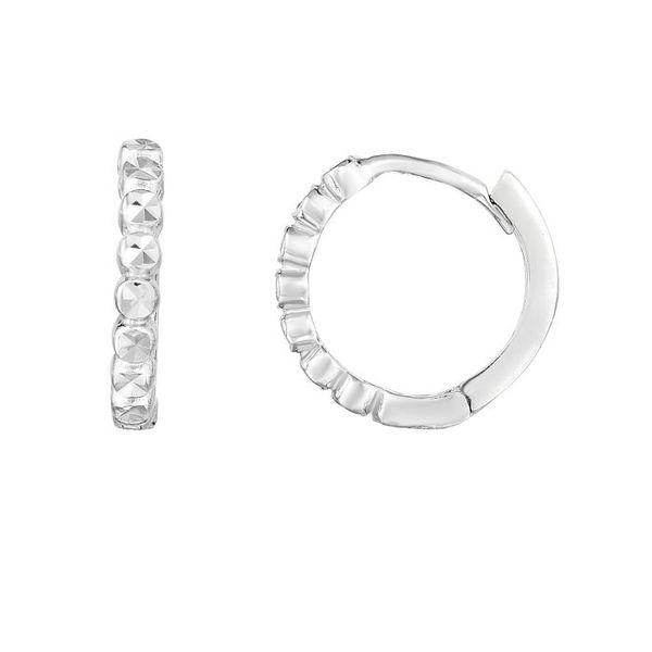 14K White Gold Round Huggie Earrings Vandenbergs Fine Jewellery Winnipeg, MB