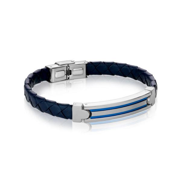 Stainless Steel Blue Italian Leather Bracelet Vandenbergs Fine Jewellery Winnipeg, MB