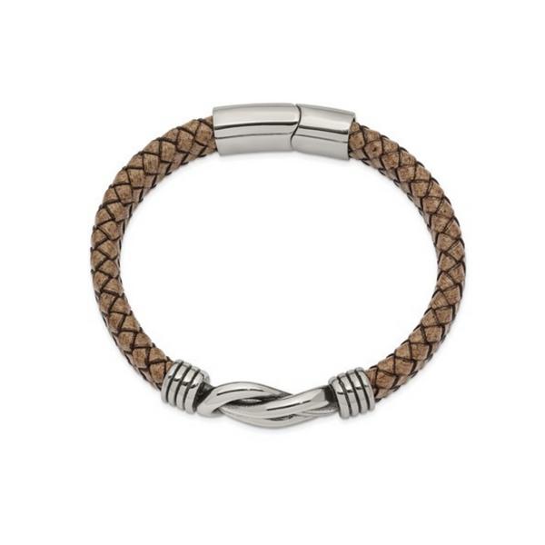 Stainless Steel Leather Bracelet Image 2 Vandenbergs Fine Jewellery Winnipeg, MB