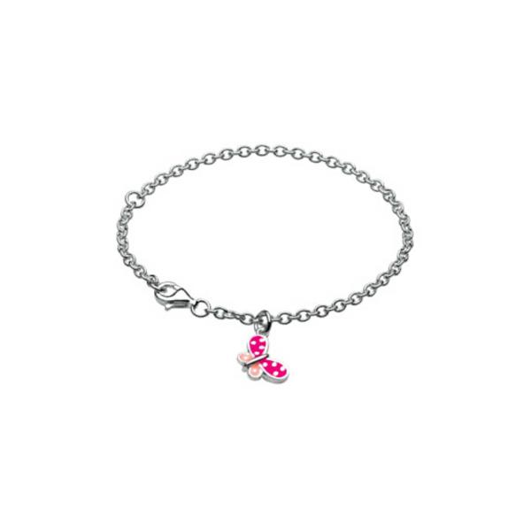 Girls Silver & Pink Enamel Butterfly Bracelet Vandenbergs Fine Jewellery Winnipeg, MB