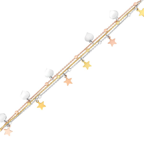 Silver Tri-color Star Dangle Bracelet Image 2 Vandenbergs Fine Jewellery Winnipeg, MB