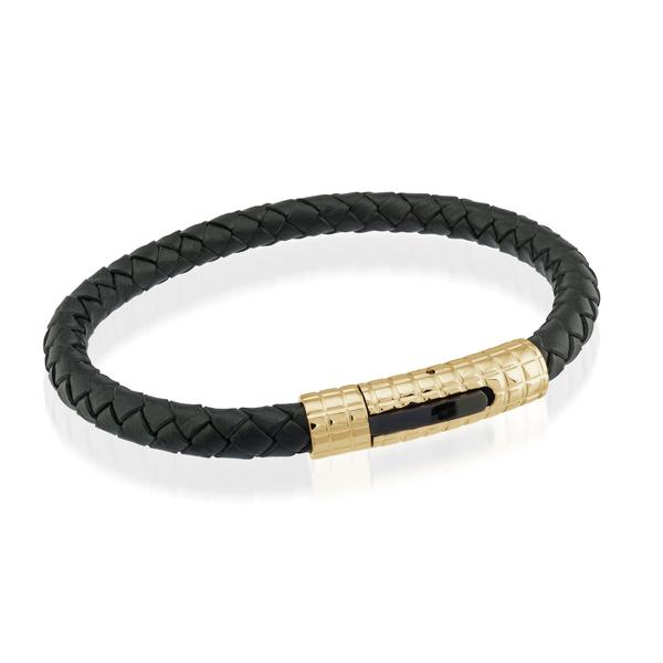 Yellow Stainless Steel Black Leather Bracelet Image 2 Vandenbergs Fine Jewellery Winnipeg, MB