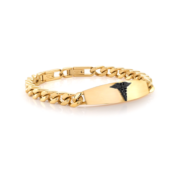 Mens Gold Stainless Steel Medical Bracelet Vandenbergs Fine Jewellery Winnipeg, MB