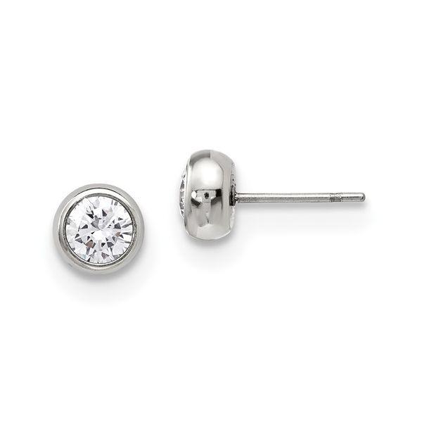 Stainless Steel 5mm Bezel CZ Stud Earrings Vandenbergs Fine Jewellery Winnipeg, MB