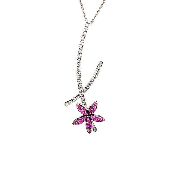 18K White Gold Pink Sapphire & Diamond Flower Necklace Vandenbergs Fine Jewellery Winnipeg, MB