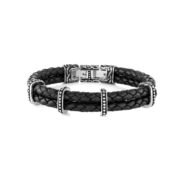 Black Italian Leather Bracelets Vandenbergs Fine Jewellery Winnipeg, MB