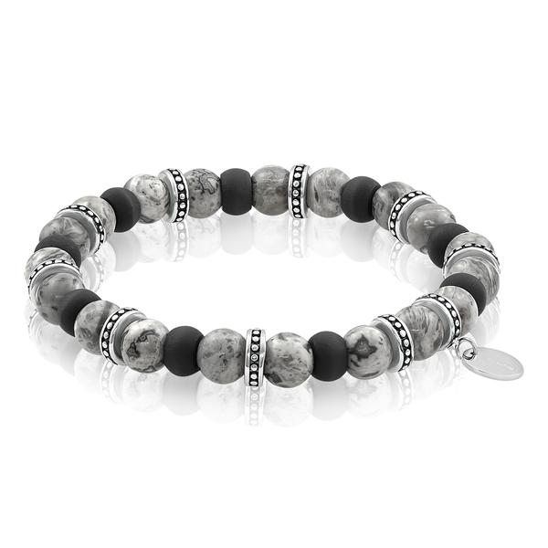 Steel Carbon Fiber Jasper Bead Bracelet Image 2 Vandenbergs Fine Jewellery Winnipeg, MB