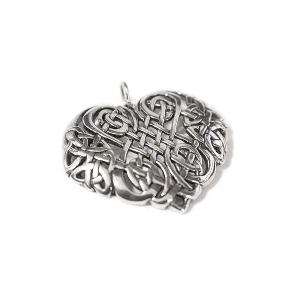 sterling silver celtic heart pendant angled
