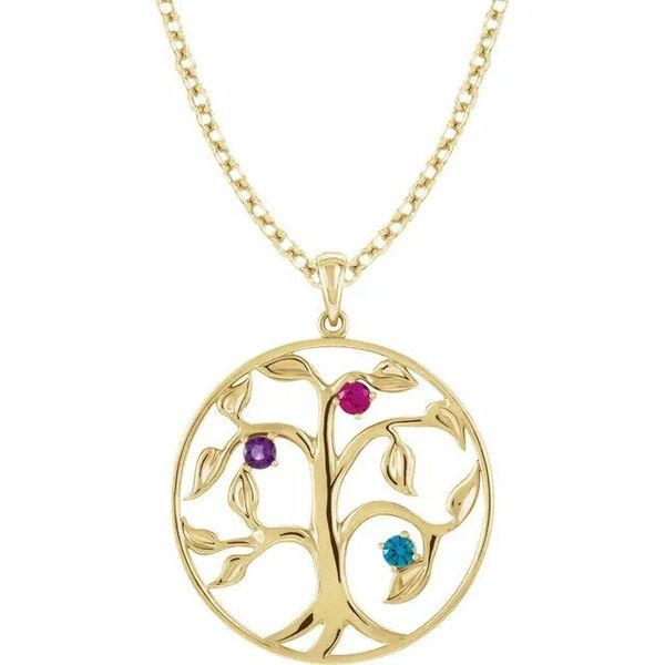 family tree necklace gold