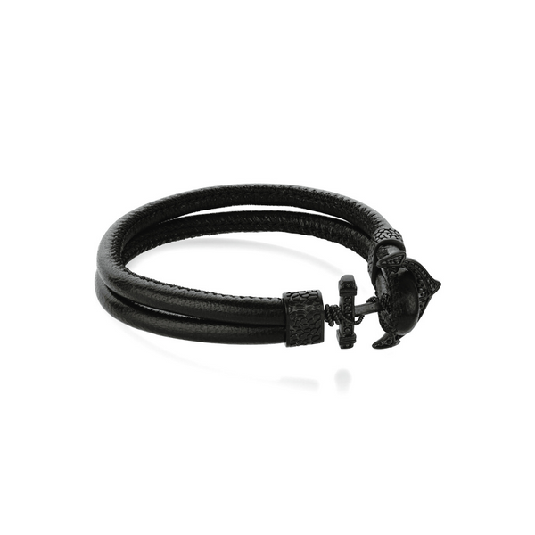 Matte Steel Anchor Black Leather Bracelet Vandenbergs Fine Jewellery Winnipeg, MB