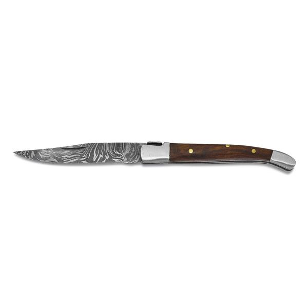 Damascus Steel Folding Knife With Walnut Woof Handle Image 2 Vandenbergs Fine Jewellery Winnipeg, MB