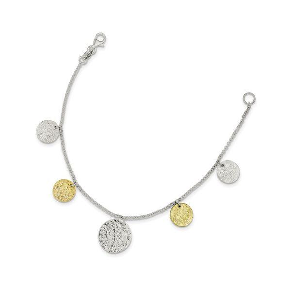Sterling Silver & Vermeil Textured Coin Bracelet Image 2 Vandenbergs Fine Jewellery Winnipeg, MB