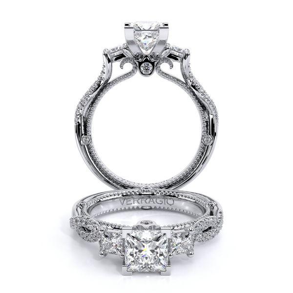 Couture Three Stone Engagement Ring D. Geller & Son Jewelers Atlanta, GA