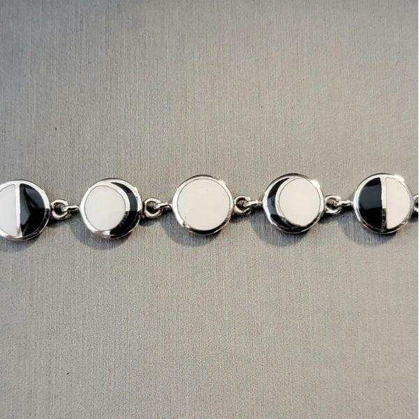 Sterling Silver Moon Phases Enamel Bracelet Image 2 Vulcan's Forge LLC Kansas City, MO