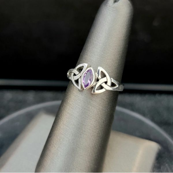 Sterling Silver Marquis Amethyst Celtic Knot Ring Vulcan's Forge LLC Kansas City, MO