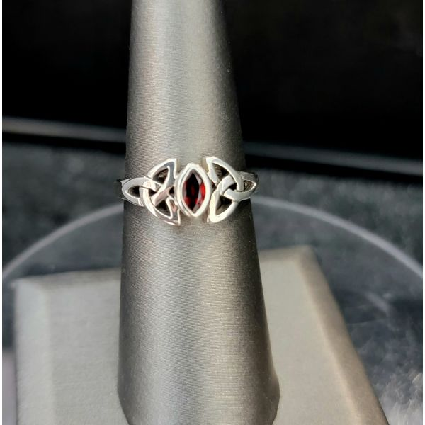 Sterling Silver Marquis Garnet Celtic Knot Ring Vulcan's Forge LLC Kansas City, MO