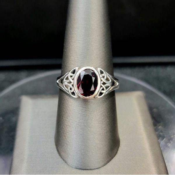 Sterling Silver Oval Garnet Trinity Knot Ring Vulcan's Forge LLC Kansas City, MO