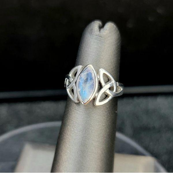 Sterling Silver Marquis Moonstone Trinity Knot Ring Vulcan's Forge LLC Kansas City, MO