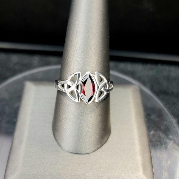 Sterling Silver Marquis Garnet Trinity Knot Ring Vulcan's Forge LLC Kansas City, MO