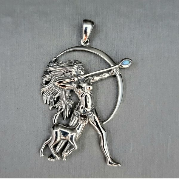 Sterling Silver Diana with Rainbow Moonstone Pendant Vulcan's Forge LLC Kansas City, MO