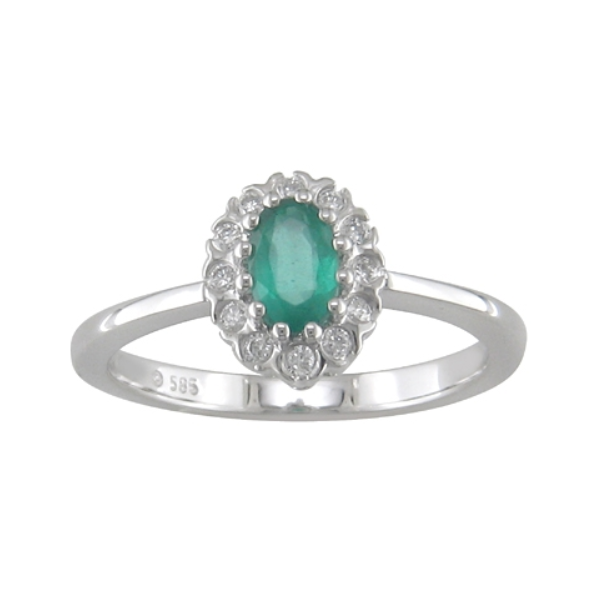 14KW Emerald & Diamond Halo Ring Waddington Jewelers Bowling Green, OH