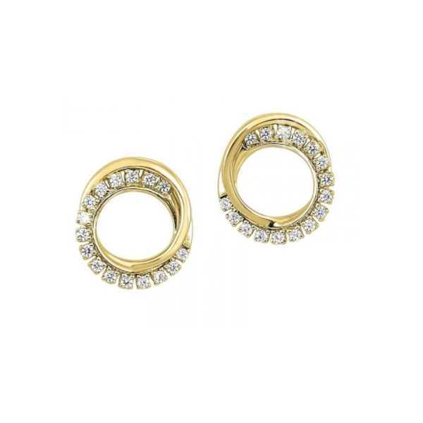 10K Yellow Gold & Diamond Swirl Earrings Waddington Jewelers Bowling Green, OH