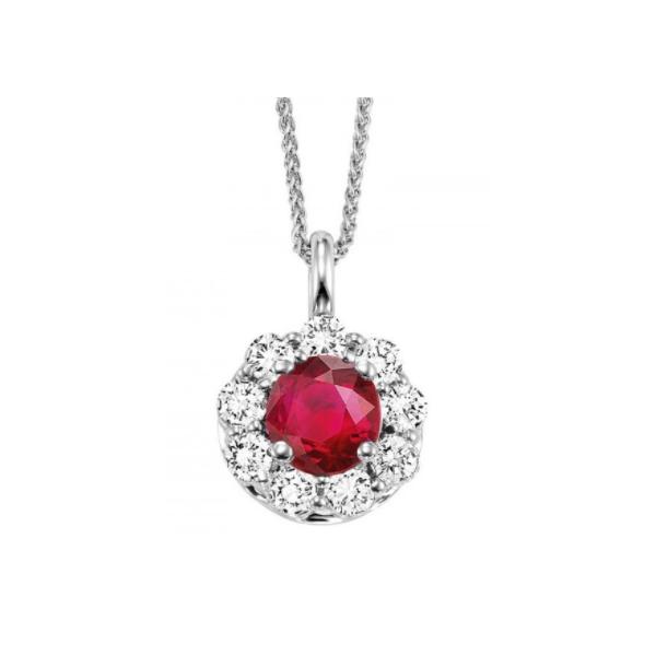 14K White Gold Ruby & Diamond Pendant Waddington Jewelers Bowling Green, OH