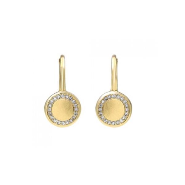 10K Yellow Gold & Diamond Disc Earrings Waddington Jewelers Bowling Green, OH