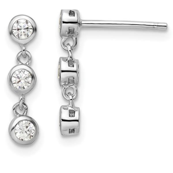 Cubic Zirconia Bezel Dangle Earrings Waddington Jewelers Bowling Green, OH