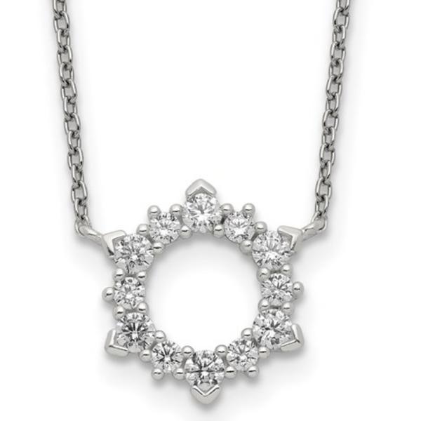 Cubic Zirconia Sunburst Necklace Waddington Jewelers Bowling Green, OH