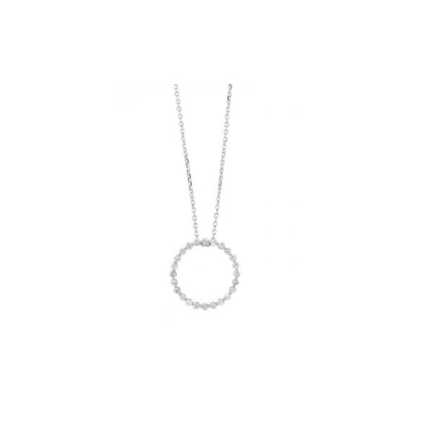 14K White Gold & Diamond Open Circle Pendant Waddington Jewelers Bowling Green, OH