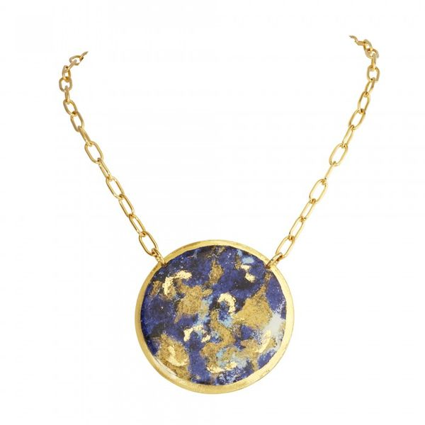 """Malachite/Lapis"" Double Sided 2"" Pendant Wesche Jewelers Melbourne, FL"