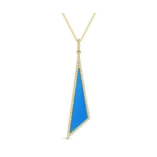Triangle Cut Turquoise & Diamond Pendant Wesche Jewelers Melbourne, FL