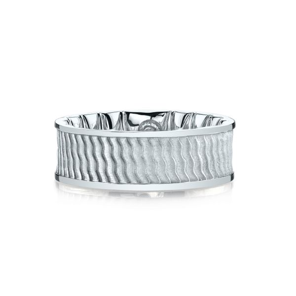 Gents Band with Wave Design and Polished Edges Wesche Jewelers Melbourne, FL