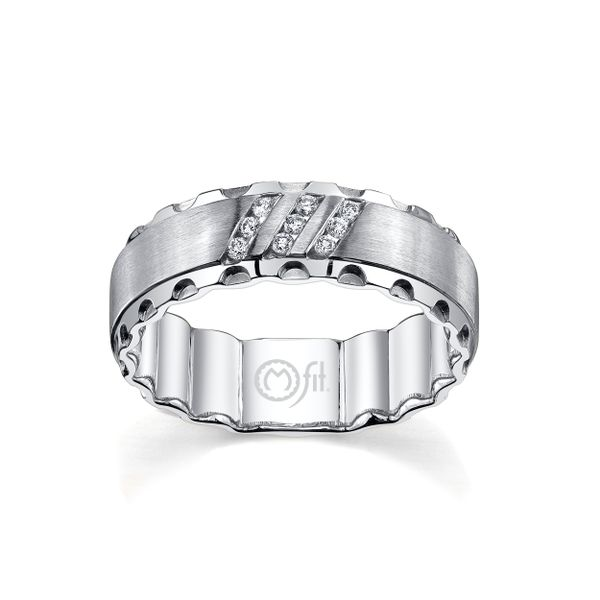 """Diamond """"MFit"""" Band with Satin Finish Center and Hammered Edge Wesche Jewelers Melbourne, FL"""